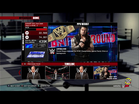 WWE 2K15 (PS4): Mac Smasher MyCareer - EP46 (Battleground PPV)