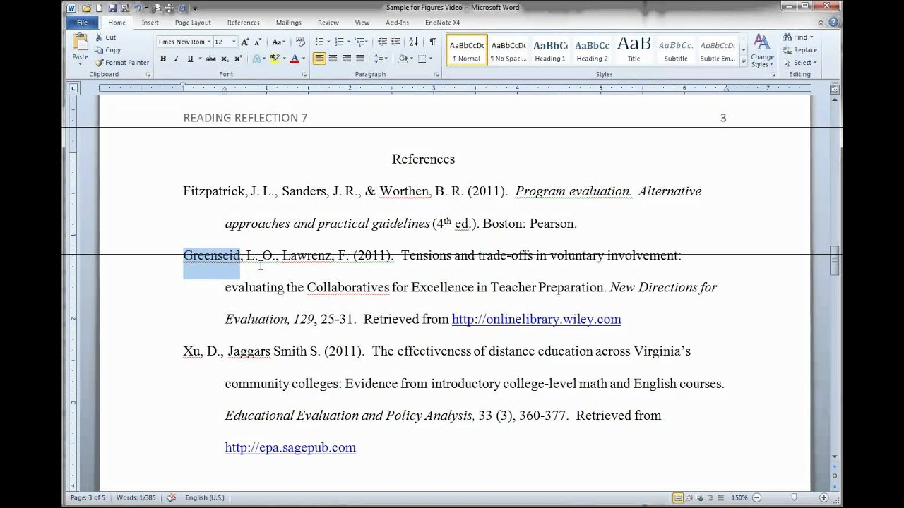 Formatting Apa Figures In Ms Word Youtube