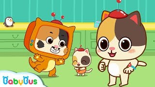 Baby Kitten's Good Daddy | Baby Kitten Family | Baby Kitten Care | Panda Cartoon | BabyBus Cartoon