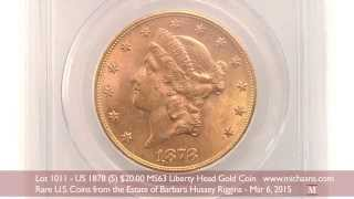 US 1878-S $20 MS63 Liberty Head Gold Coin