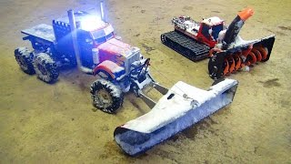 RC ADVENTURES - SNOW MACHiNES DOiNG WORK - OPTiMUS & BLiZZARD - Plow & Snow Blower