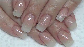 Glittery Baby Boomer Acrylic Nails | ombre | gradient | fill | Beanana711