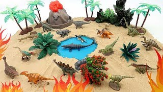 Dinosaur Mini World - Jurassic World Dinosaur Set, Volcano Eruption, Water Dino! Fun Video For Kids