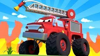 Monster Town - Monster Truck Fire Truck helps the Monster Trucks Cranes ! Monster Truck of Car City