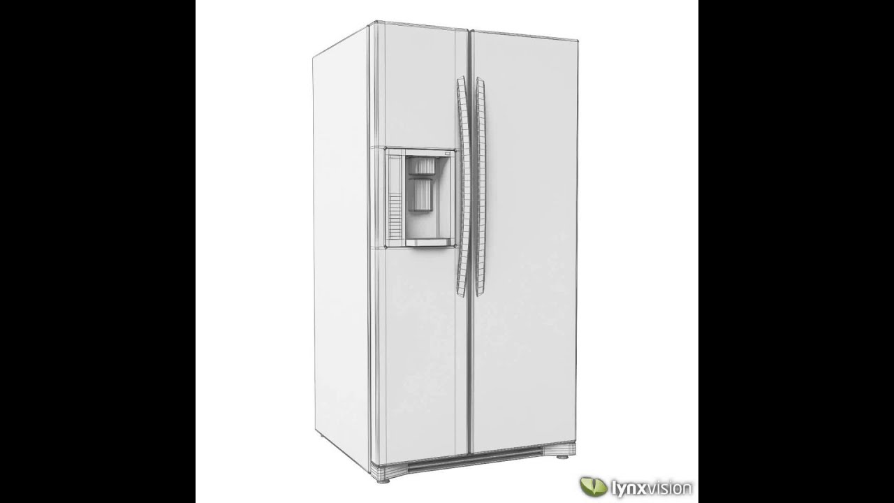 lg side by side refrigerator 3d model from. Black Bedroom Furniture Sets. Home Design Ideas