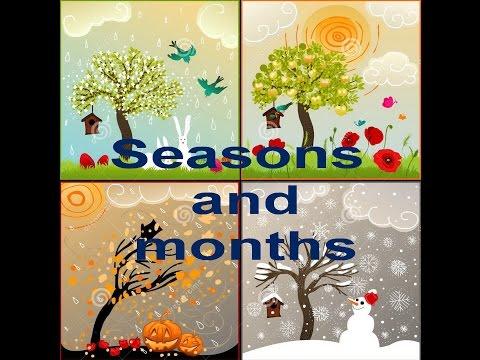 Времена года  и месяцы на английском языке. Seasons and months in English.