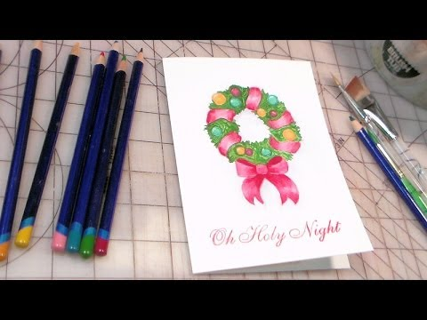 Paint a wreath with watercolor pencils