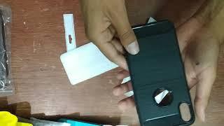 TPU cepillada con fibra de carbono de Naxtop para iPhone XS Max - Negro - GEARBEST