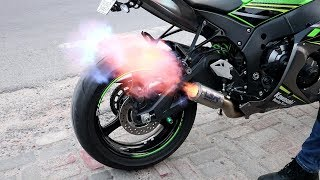 Fire Flames From Kawasaki ZX10R || My First Dirt Track Experience