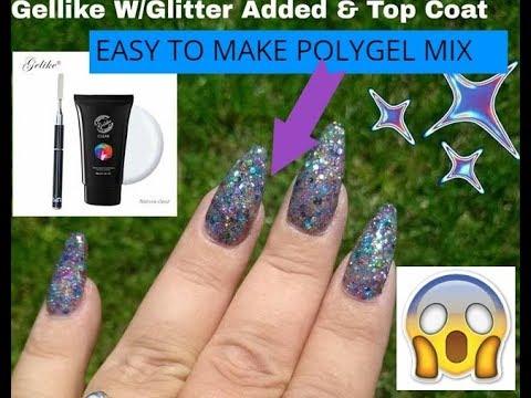 CLEAR Gellike Poly Gel Mixed W/Glitters  BONUS SURPRISE!!!!