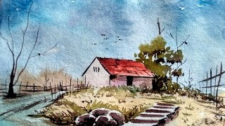 Watercolor Painting For Beginners - Village House Landscape Tutorial