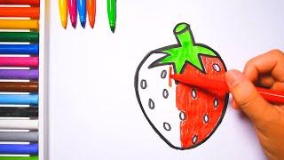 Học vẽ và tô màu trái cây |  Fruits Coloring Pages for kids  | ☆♫ 🌈Rainbow Toy Art ♫☆|