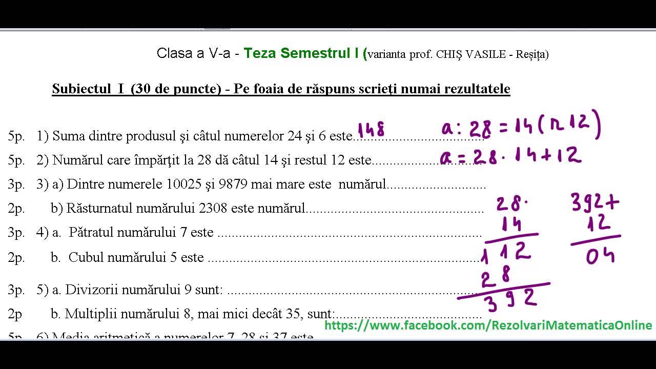 exemple de teza la lb romana clasa 5