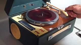 vintage chinese transistor radio record player spring motor wind up turntable retro