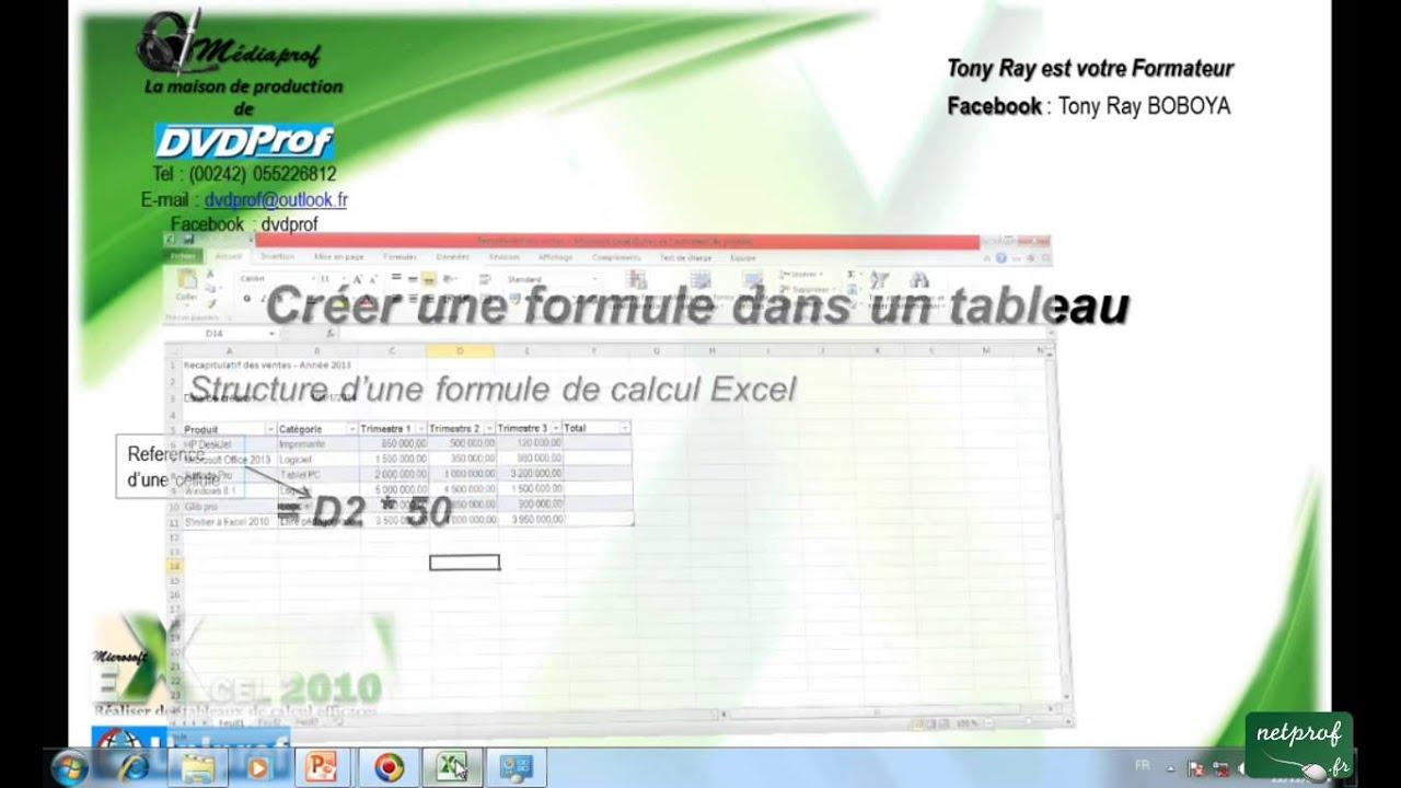 5_1 Créer une formule dans un tableau Excel - YouTube