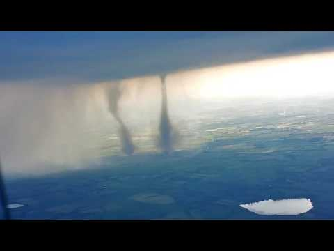 Twin Tornados from Airplane - Germany - June 5th 2016, deshaked Version