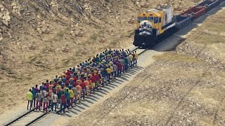 CAN 100+ PEOPLE STOP THE TRAIN IN GTA 5?