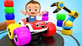 Learn Colors for Children with Baby Car Toy Vehicles Tire 3D Kids Toddler Learning Educational