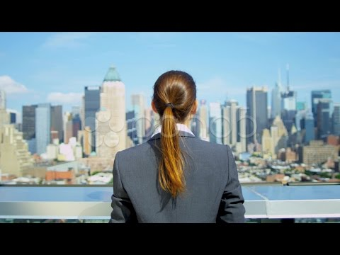 Young Caucasian Businesswoman Celebrating Success On Rooftop  . Stock Footage