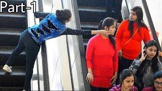 Pulling Strangers Cheeks On Escalator #Prank #PullingCheek #Allahabad #india #Bestprank #Sumit