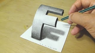 How to Draw 3D Letter F - Drawing Curved Letter F with Pencil - Trick Art for Kids and Adults