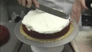 Red Velvet Cake Recipe : Frosting the First Cake Layer