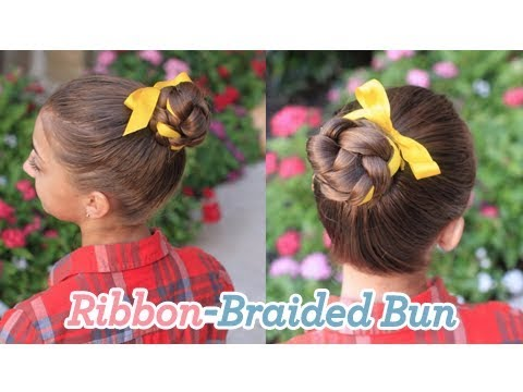 Cute Girls Hairstyles | Braided Bun w/Ribbon