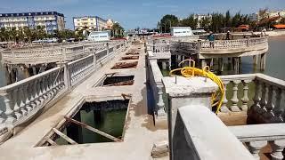 Thi công con tiện lan can cầu dẫn biển Hải Tiến
