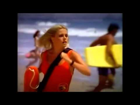 BAYWATCH TRAILER DIVE FROM HELICOPTER 7 METERS 26 5 1989 SANTA MONICA  BEACH  LOS ANGELES CALIFORNIA