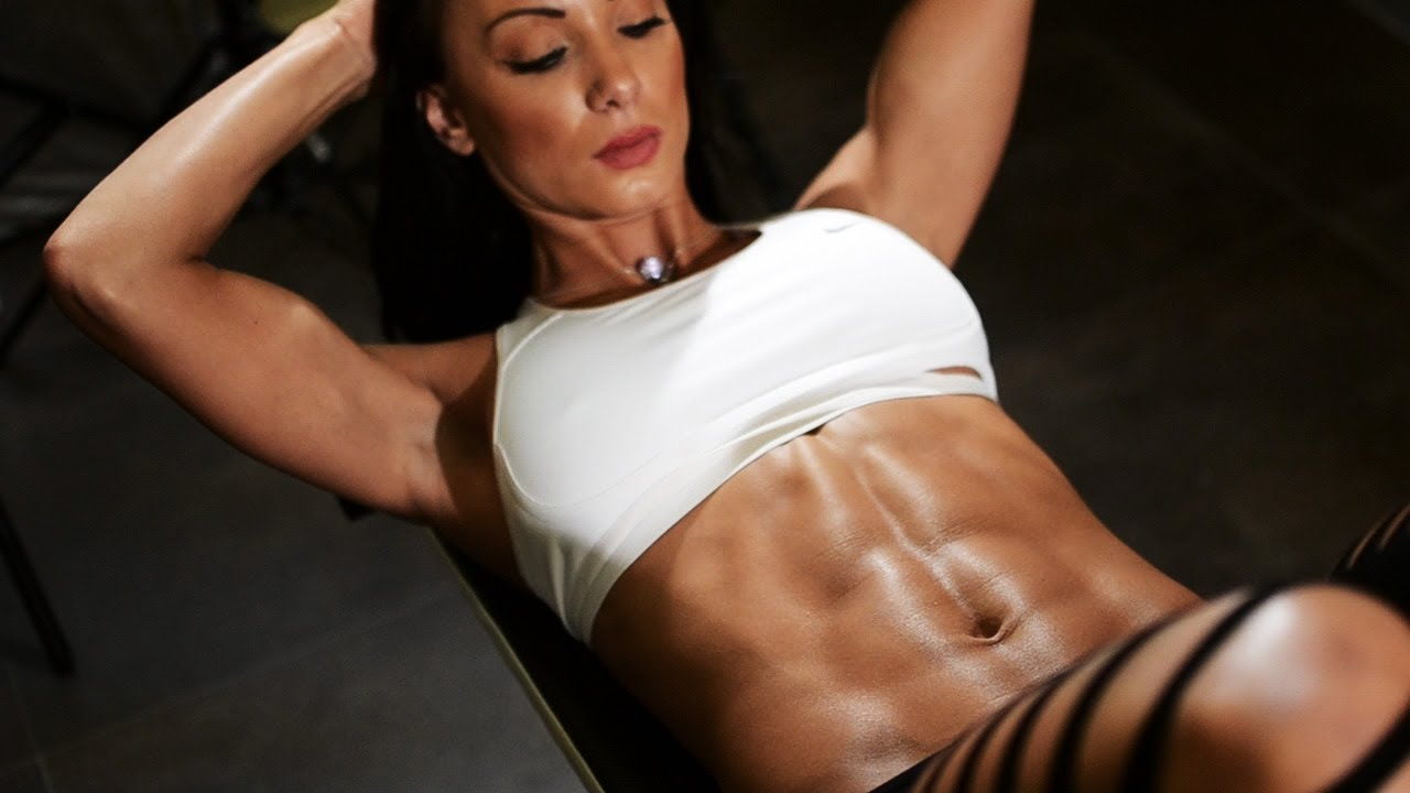 fitness with Sexy abs girl