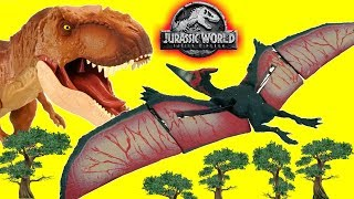 Jurassic World Fallen Kingdom Toys Indoraptor vs T Rex Dinosaur Pterano Drone Flying is Fun!