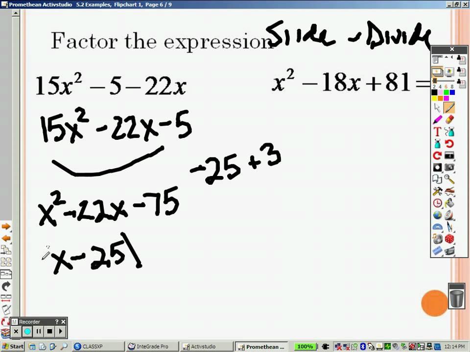 Examples of Algebraic Equations Algebra 2 5.2 Part 2 Examples