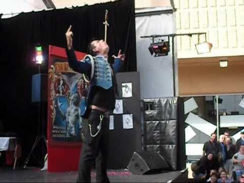Deadly Sword Swallow Stunt - Space Cowboy Amazing Skills!!