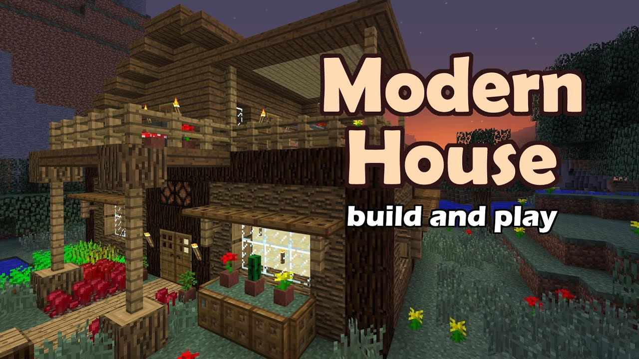 Minecraft modern house tutorial youtube for Good house pictures