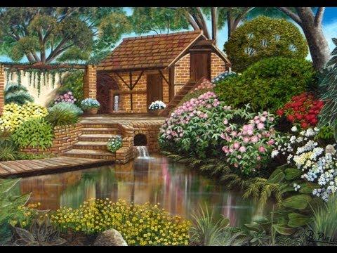 Arte jardines pinturas raphael puello youtube for Arbustos de hoja perenne para jardin