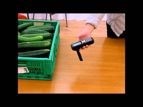 Tagged zucchini container read with Nordic ID Morphic UHF RFID Cross Dipole