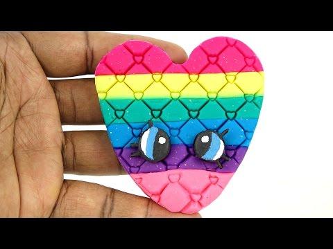 Modelling Clay DIY Sparkle Play Doh Rainbow Shopkins Face Fun and Creative