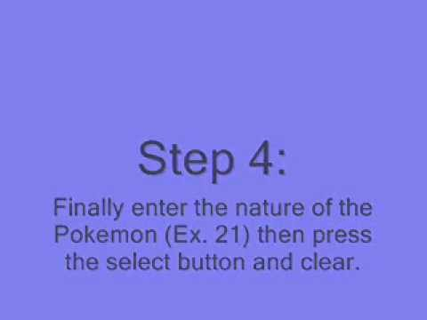 Pokemon Platinum Action Replay Codes: Pokemon Modifier