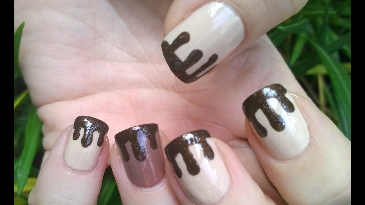 Dripping paint nail art designs diy warm chocolate with toothpick