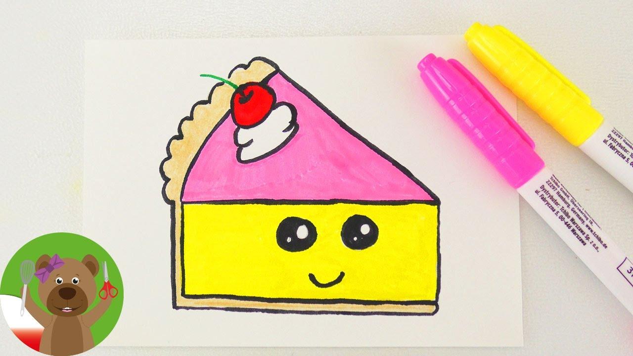 Malowanie & Rysowanie dla dzieci | kawałek tortu w stylu Kawaii | pomysł na zaproszenie lub kartkę