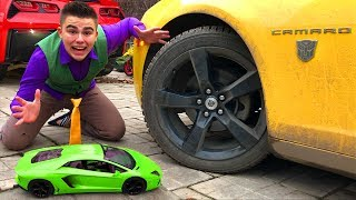 Mr. Joe on Lamborghini Aventador under Wheel VS Chevy Camaro CHANGES COLOR in Pool for Kids