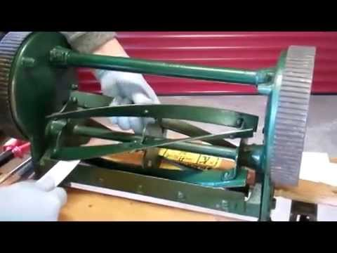 How to Sharpen a Lawnmower Blade - Backlapping an early English Qualcast reel push lawnmower