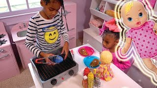 Baby Doll Pink Kitchen & Play Food Refrigerator ! Johny Johny Yes Papa Song