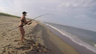 Beach Fishing for Sharks and BIG FISH in Outer Banks