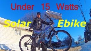Solar Power E-bike on 3 volts (sub 15 watts) Hybrid Solar Bike test