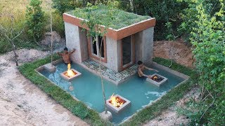 How To Build Beautiful Mud House And Awesome Underground Swimming Pool Around House For Winter