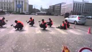 Russian Road Crew Removes a Crosswalk with Hatchets