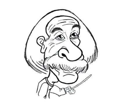 Albert Einstein, Doodle practice on ipad by Bear, cartoon face