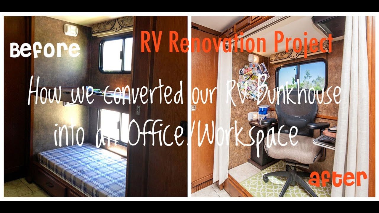 Diy Rv Renovation How We Converted Our Bunkhouse Into An Office Workspace For Under 200 Youtube