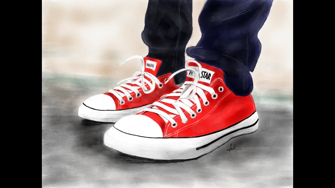 How to draw a Converse shoe step by step Drawing
